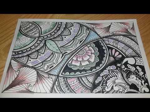 Fast Vignette Zentangle Doodle Batik Mandala Youtube