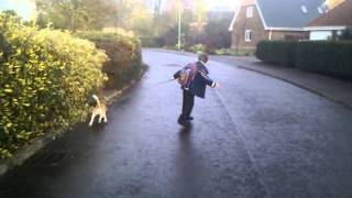 Ripstiking To School, Pulled By A Beagle