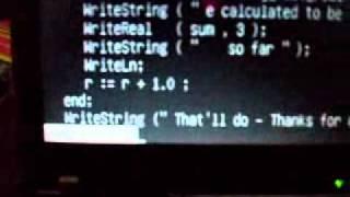 Modula-2 Program calculating e (base of natural logarithms).