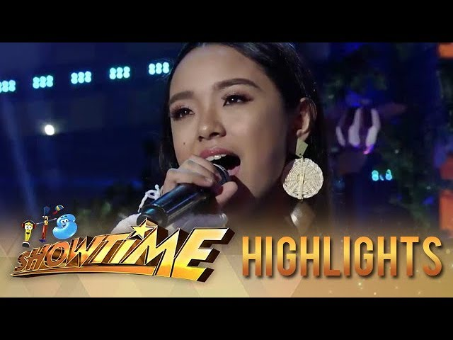 It's Showtime: Sheena Belarmino belts out her rendition of 'Give Love On Christmas Day'