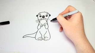Easy How To Draw A Otter From Finding Dory For Kids