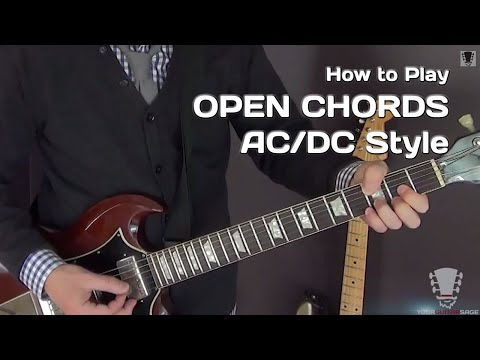 AC/DC Style Electric Guitar Lesson - Open Chords