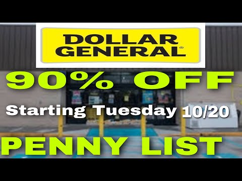 DOLLAR GENERAL 10/20 PENNY LIST +OVERAGE & 90% OFF SEASONAL CLEARANCE