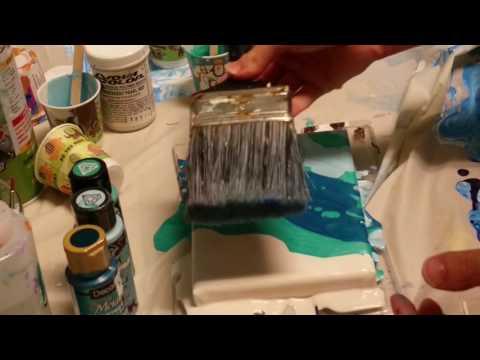 fluid acrylic swipe with a paint brush