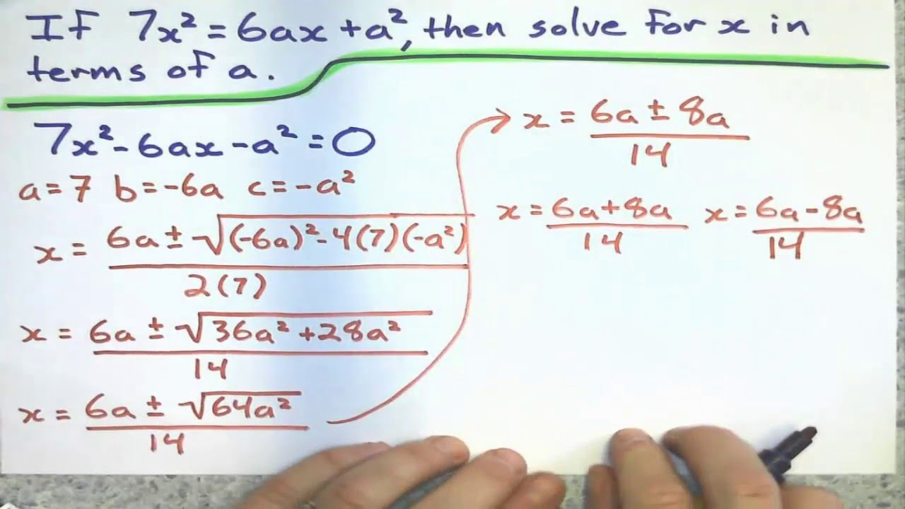 Using Quadratic Formula to Rearrange Equations - YouTube