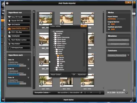 Fotos von der Digitalkamera importieren in Avid studio und Pinnacle Studio