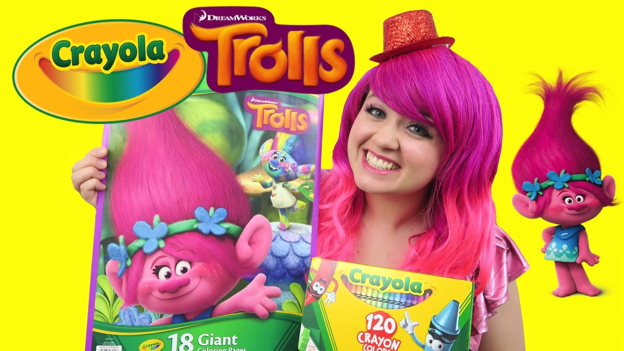 Coloring Poppy from Trolls Crayola GIANT Coloring Book | COLORING ...
