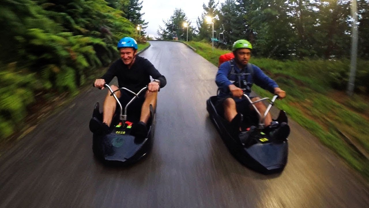 Downhill Kart Racing In The Rain Scenic Track Skyline Luge