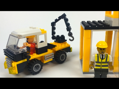 BLOCK TECH SITE CREW CONSTRUCTION BUILDING BLOCKS WITH CRANE TRUCK LORRY AND OFFICE - UNBOXING