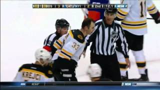 Cal Clutterbuck boards Zdeno Chara and then Chara gets Scary