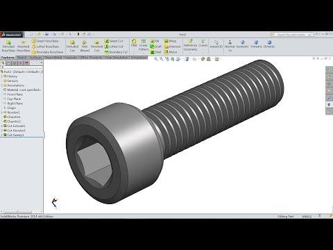 SolidWorks Tutorial   How To Make Allen Bolt In Solidworks