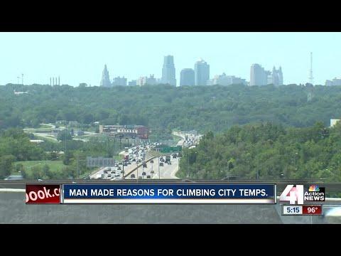 Man made reasons for climbing tempatures in Kansas City