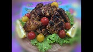 Острые куриные крылышки на мангале , в медово соевом соусе