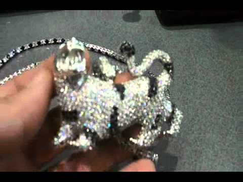 Micropave CZ Tiger Pendant with CZ chain black and silver $150 shipped!!