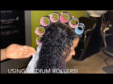 LONG BEAUTIFUL  HAIR/ ROLLER SET/ NATURAL HAIR/ BLACK WOMEN / Minimal HEAT