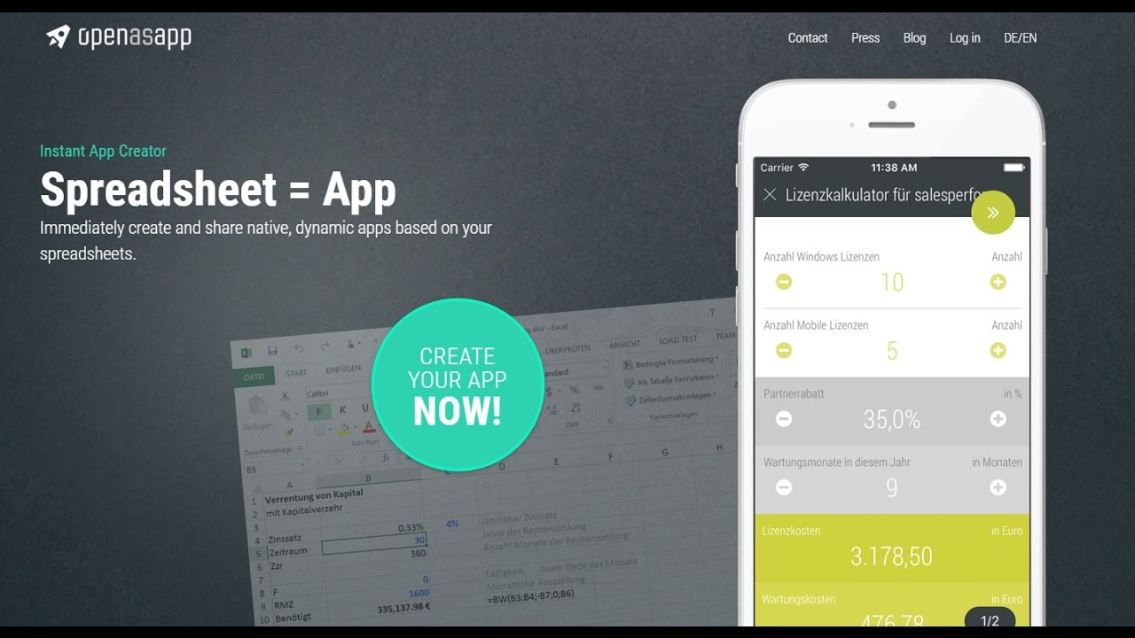 openasapp turns spreadsheets into web and mobile apps