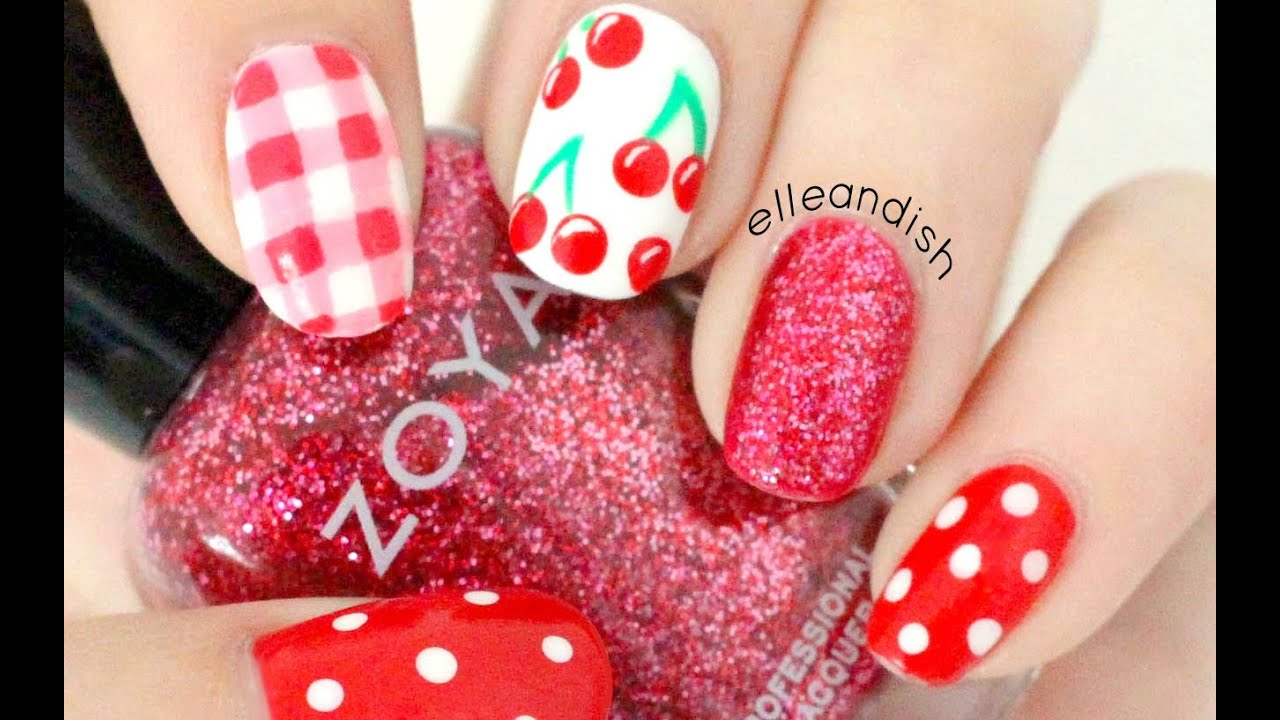 Cherry Picnic Nails Youtube