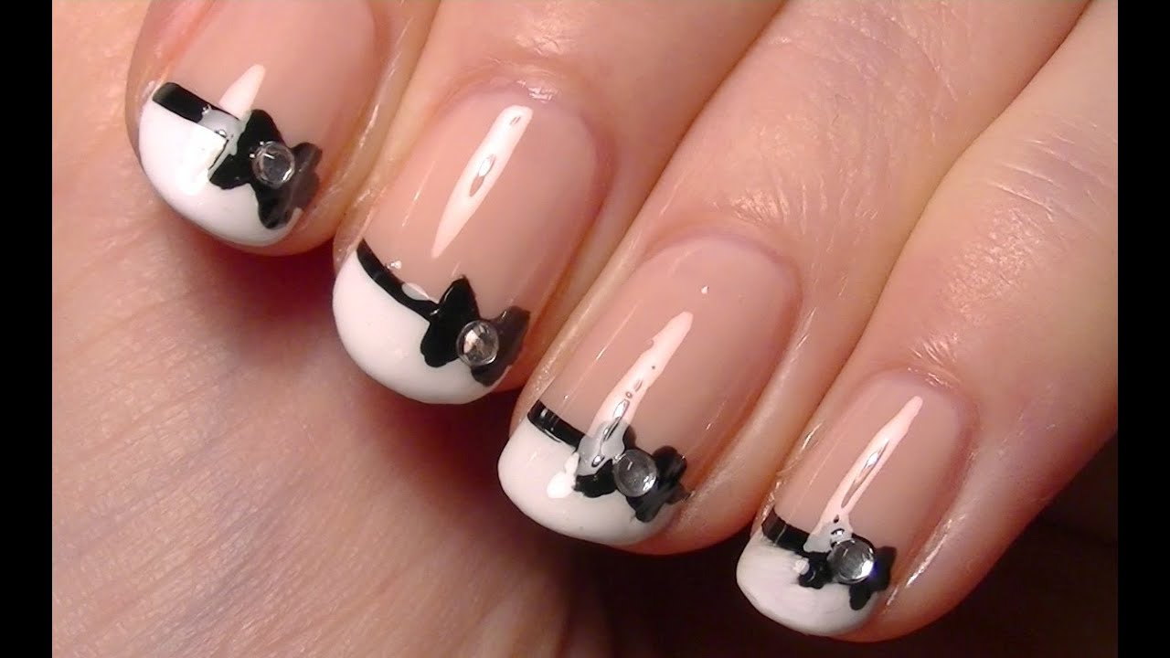 ♥ Cute Little Bow Nail Art \u2022 Simple Nail Polish Art Tutorial for Short  Nails ♥