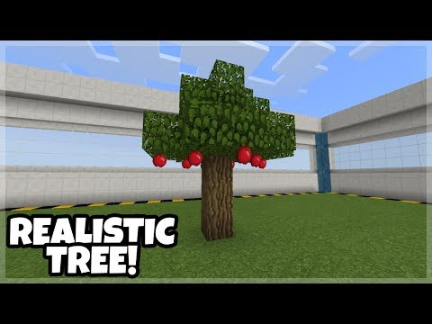 How To Make A Realistic Tree With Apple In Minecraft PE 1.7!!!