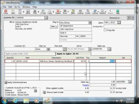 Sage 50 Tutorial The Sales/Invoicing Window Sage Training Lesson 6.6