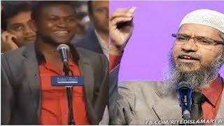 شاب كاميروني اجب علي سوالي هذا وساعلن اسلامي امام الجميع ! فما كان رد ذاكر نايك