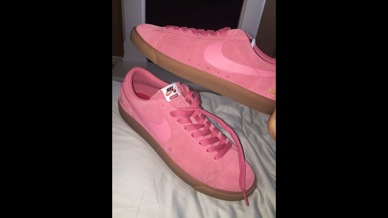 finest selection 87726 955a1 Supreme Unboxing-F W 16 Week 4  Nike SB Blazer Low GT (Pink) - YouTube