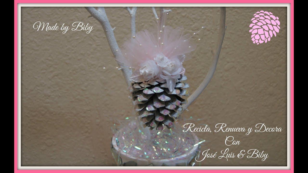 Diy como decorar pi as de pino navide o youtube - Adornos para navidad con pinas ...