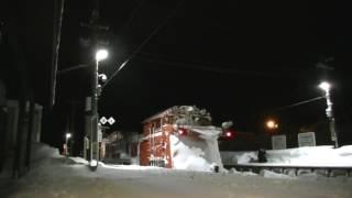 宗谷ラッセル 雪371レ 深夜の天塩中川を発車 2017年2月2日