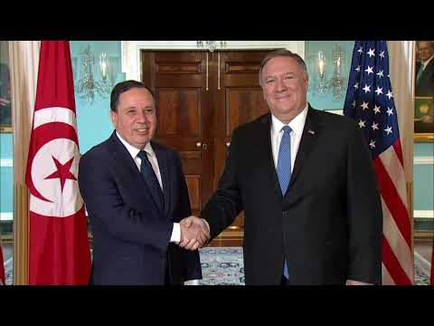 U.S. Department of State: Secretary Pompeo camera spray with Tunisian FM Jhinaoui