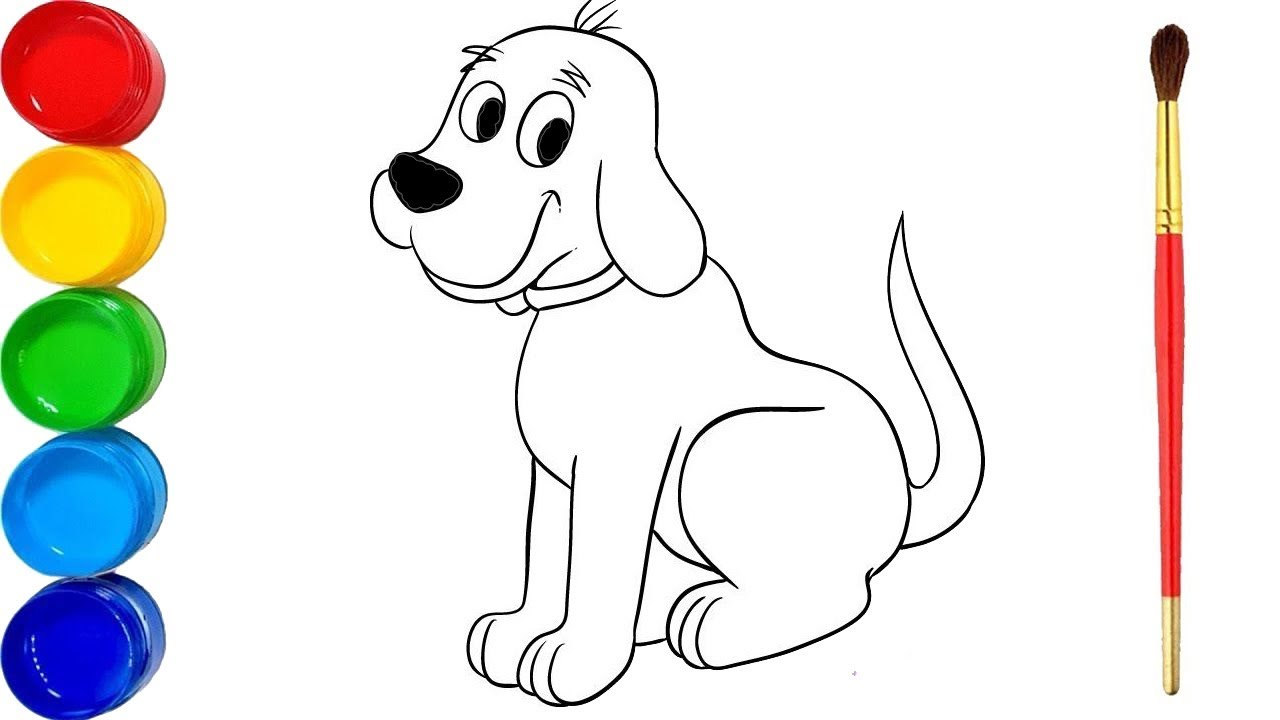 Easy drawing for kids | Draw and color the Dog | Learn ...