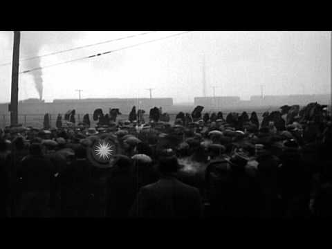 City police breaks a mass picket line in front of Sun Shipbuilding and Drydock Co...HD Stock Footage