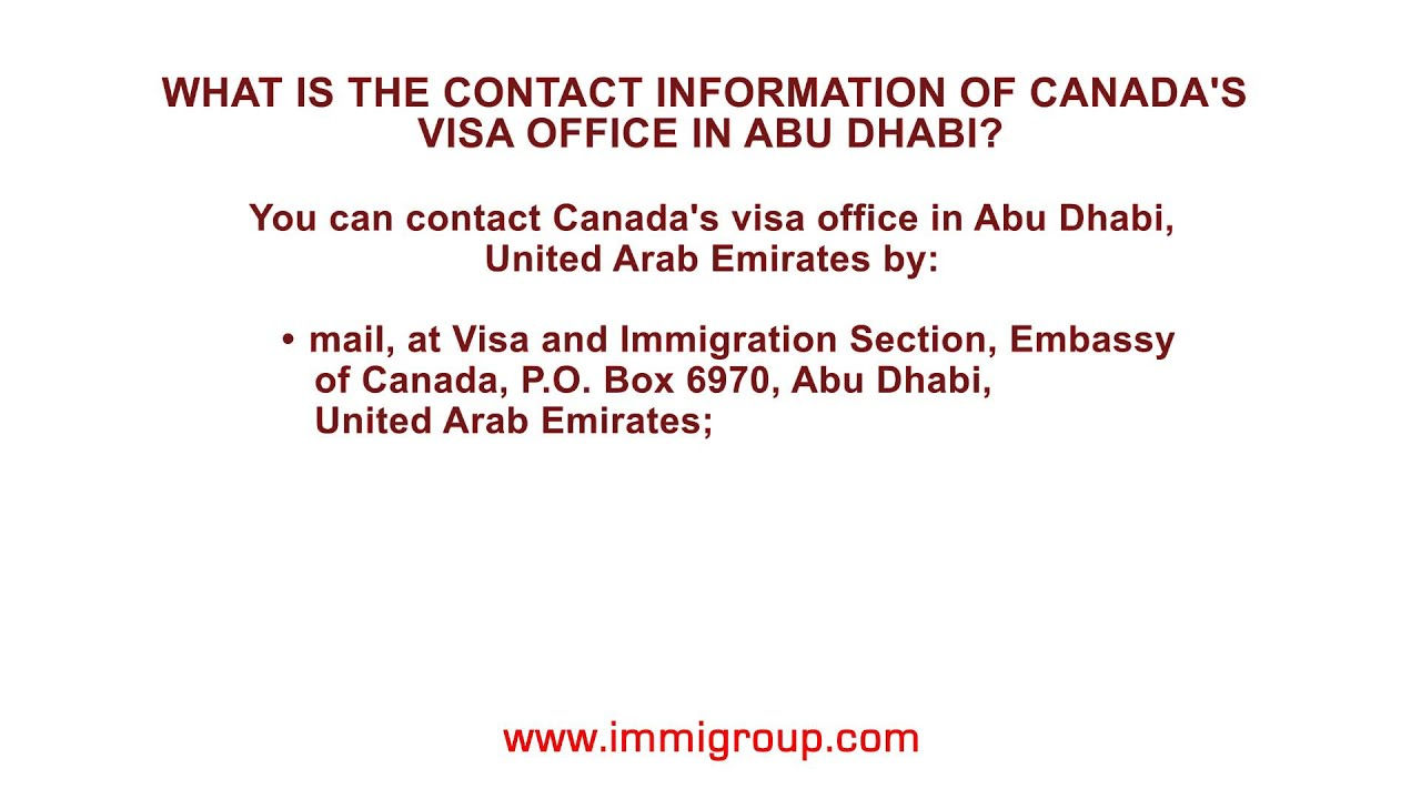 What Is The Contact Information Of Canadas Visa Office In Abu - Us embassy abu dhabi location map