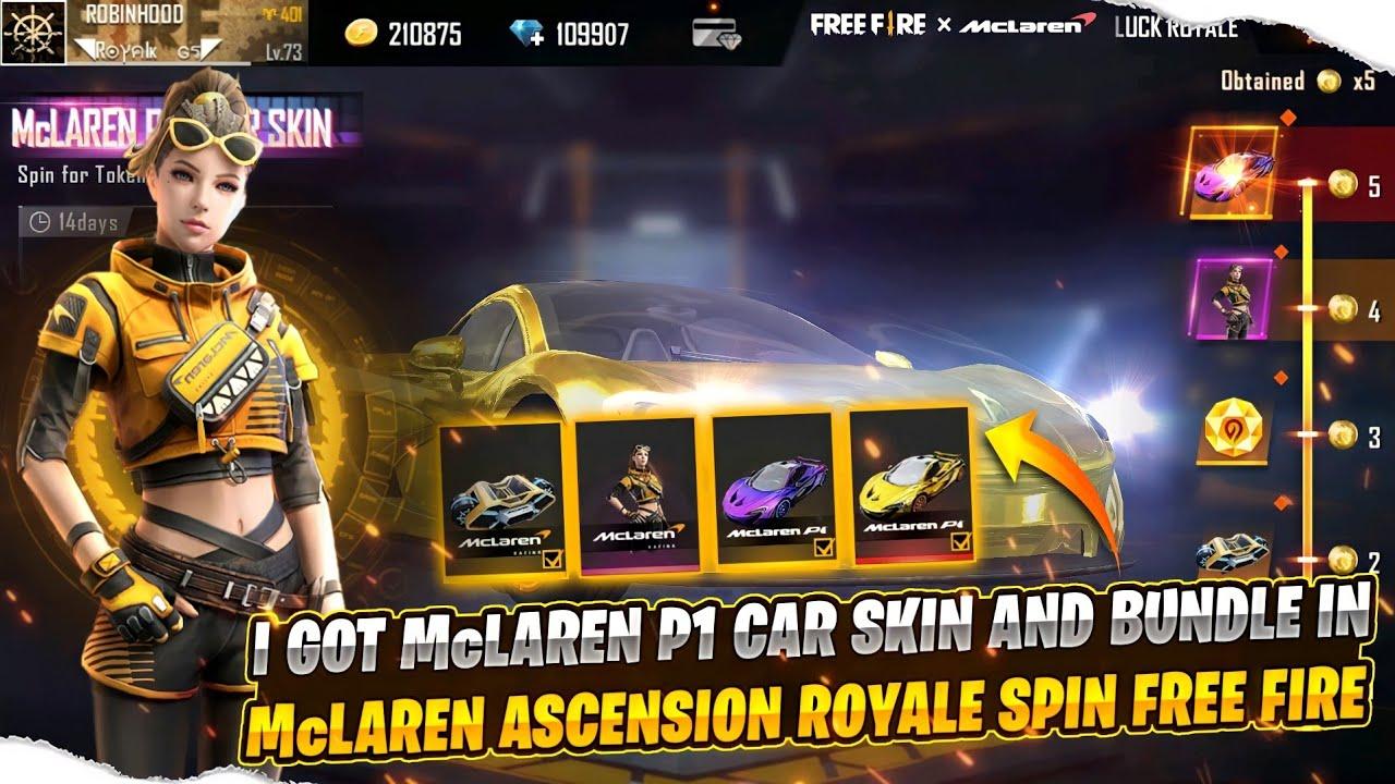 McLaren Ascension Royale Spin Free Fire 🔥 I Got McLaren P1 Car Skin & Bundle    Best Trick to Spin !