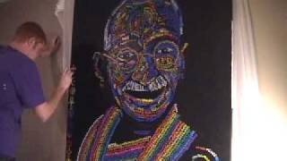 """300 Ways To Say Peace"" by Jordan Tarrant - Time lapse Painting of Mahatma Gandhi"