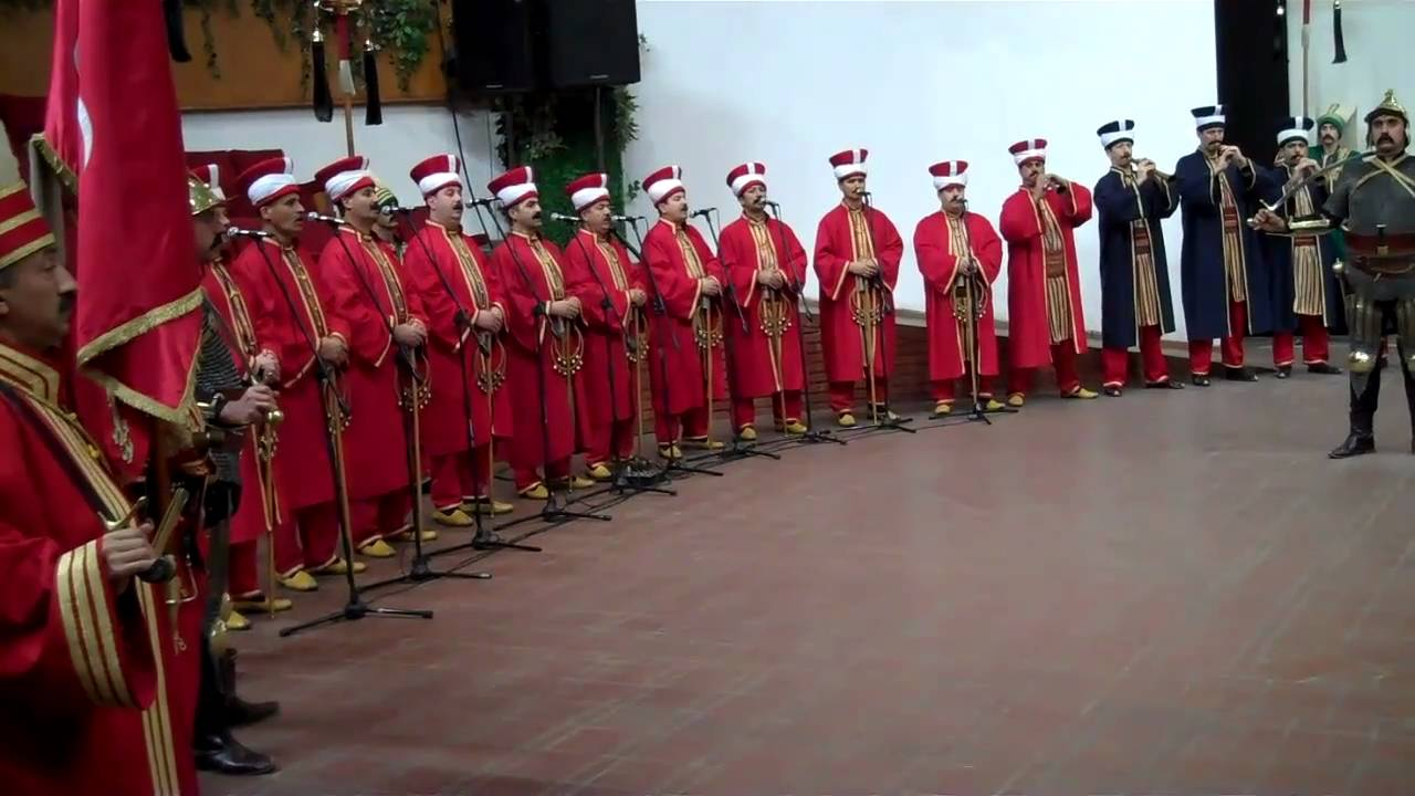 turkish military music Some preliminary googling revealed that the third movement imitates the sound of turkish janissary bands: steady strong tones with drums and cymbals, trumpets and bells, widely believed to be the oldest variety of military marching band.
