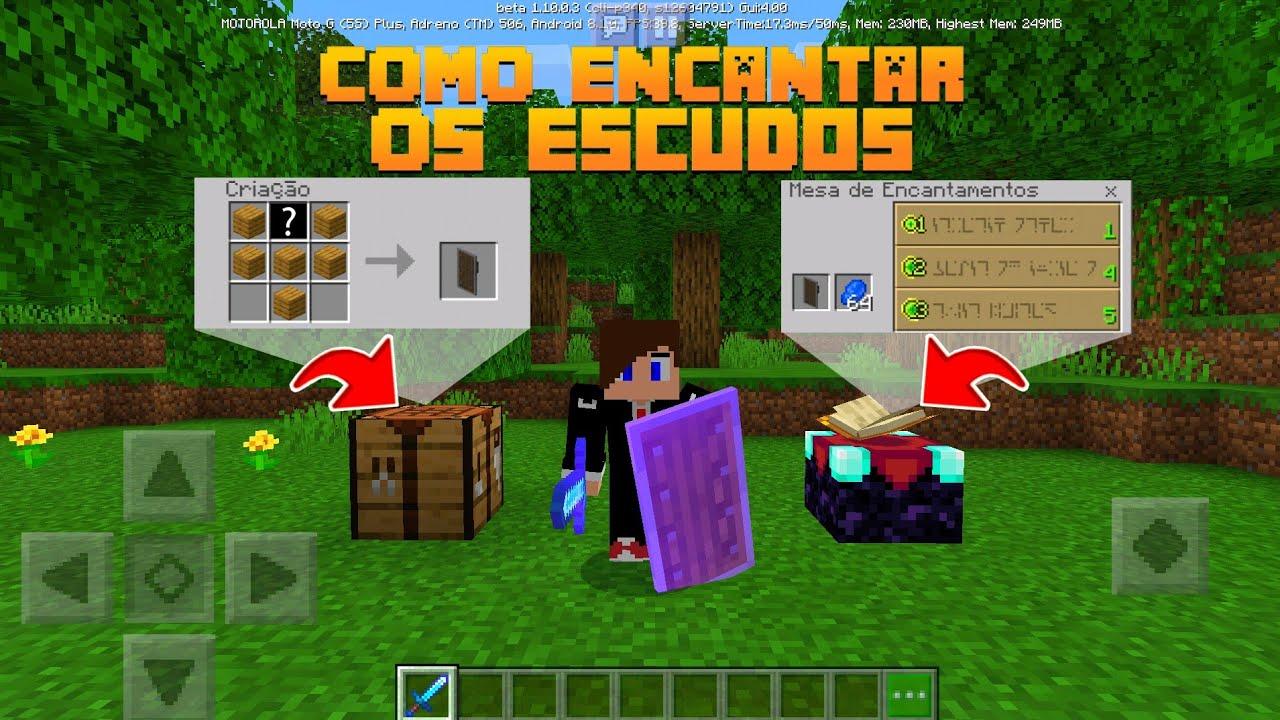 COMO ENCANTAR E CRAFTAR OS ESCUDOS DO MINECRAFT PE 1.10! (Pocket Edition) -  YouTube