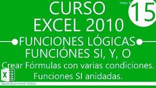 Curso Excel 2010. Funciones Lógicas: Función SI, Función Y, Función O. Funciones SI Anidadas.