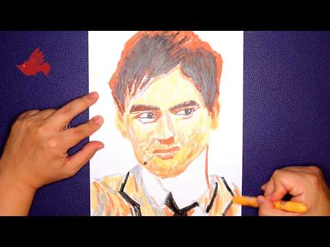 How to Paint Chow yun-fat with Oil Pastel color | step by step