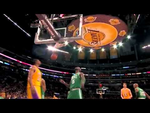 Kobe Bryant fake on Shaquille O Neal hits the jumper gets fouled and taunts him vs Boston Celtics