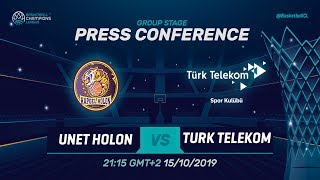 UNET Holon v Türk Telekom - Press Conference - Basketball Champions League 2019-20