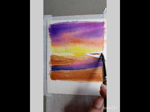 Candy sky Watercolor sunset/Painting tutorial for beginners Landscape