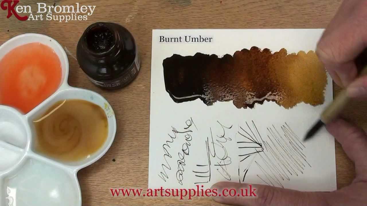 Daler Rowney Fw Ink Burnt Umber 223 Youtube