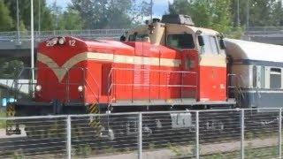 Finland: VR Class Sr1 electric & Dv12 diesel departures from Pieksamaki station Southern Savonia