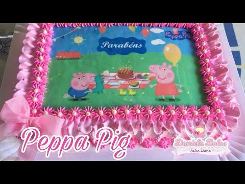 Confeitando bolo tema: Peppa Pig c/ papel arroz especial