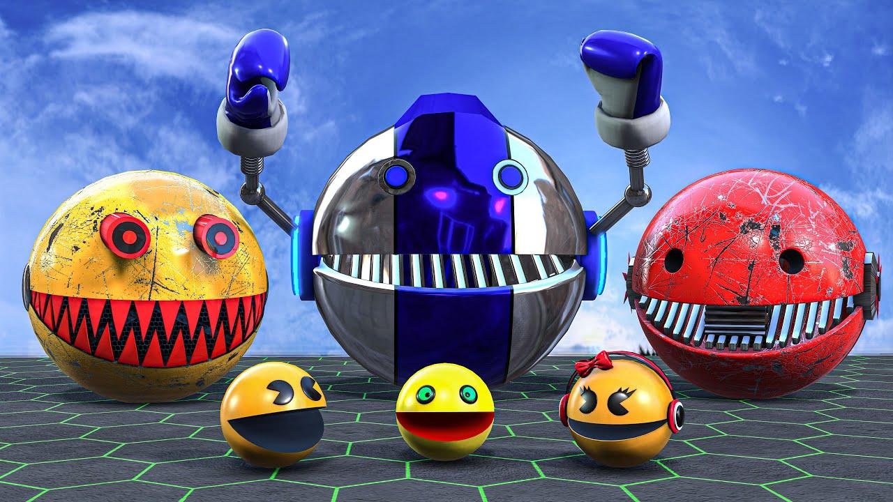 Pacman Robot Vs 2 Monster Robot The coolest scene
