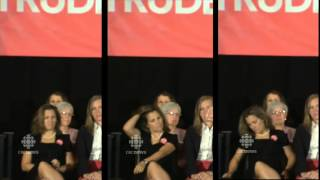 Liberal MP Chrystia Freeland Bored During Justin Trudeau Speech