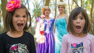 FROZEN ELSA teaches perseverance with RAPUNZEL and the Big Bad Wolf!