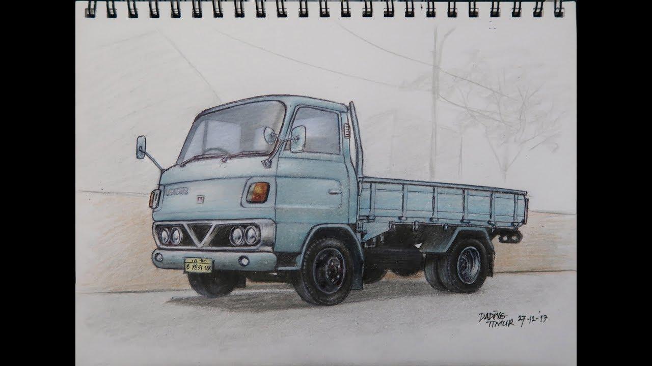Sketsa Gambar Mobil Truk Canter - Contoh Sketsa Gambar
