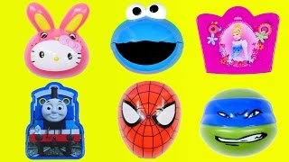 EGG SURPRISES DCTC Kinder Cookie Monster Disney Princess Thomas & Friends Hello Kitty TMNT Toy Eggs