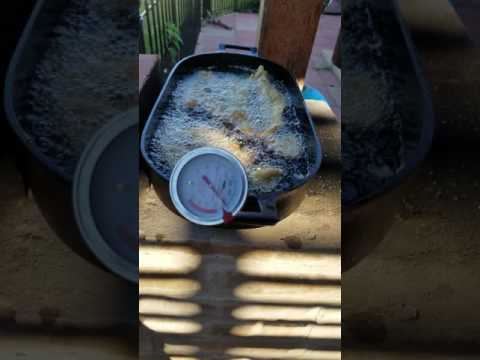 Fish fry with a rocket stove. It's the best alternative for no electricity or fossil fuel.